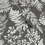 Superfresco Easy Farne Grey & white Leaves Smooth Wallpaper