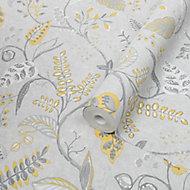 Superfresco Easy Kellie Grey & yellow Foliage Smooth Wallpaper
