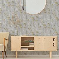 Superfresco Easy Megan Grey & yellow Floral Textured Wallpaper