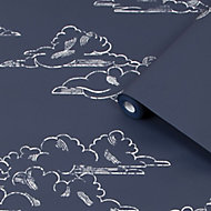 Superfresco Easy Navy Clouds Smooth Wallpaper