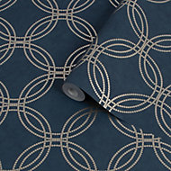 Superfresco Easy Navy Geometric Textured Wallpaper