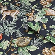 Superfresco Easy Navy Woodland animals Smooth Wallpaper