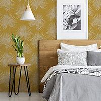 Superfresco Easy Ochre Palm leaves Gold effect Textured Wallpaper