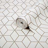 Superfresco Easy Prism Geometric Gold glitter effect Textured Wallpaper