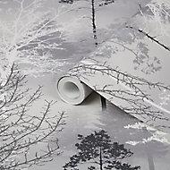 Superfresco Easy Sequoia Black Tree Mica effect Smooth Wallpaper