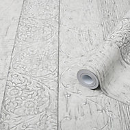 Superfresco Easy Sheila Grey Wood effect Smooth Wallpaper
