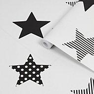 Superfresco Easy Superstar Black & white Smooth Wallpaper