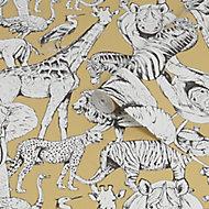 Superfresco Easy Yellow Jungle animals Smooth Wallpaper