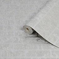 Superfresco Milan Grey Brick Silver effect Smooth Wallpaper