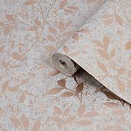 Superfresco Milan Grey Trail Rose gold effect Smooth Wallpaper