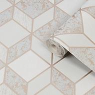 Superfresco Vittorio Grey Geometric Rose gold effect Smooth Wallpaper