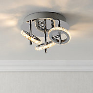 Symi Chrome effect Mains-powered 3 lamp Spotlight
