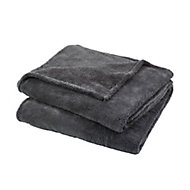 Takeo Grey Plain Fleece Throw