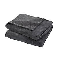 Takeo Grey Plain Fleece Throw