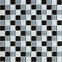 Tarente Black, grey & white Glass effect Mosaic Glass Mosaic tile, (L)300mm (W)300mm