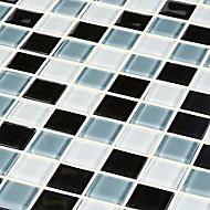 Tarente Black, grey & white Glass effect Mosaic Glass Mosaic tile, (L)300mm (W)300mm