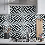 Tarente Black, grey & white Glass Mosaic tile, (L)300mm (W)300mm