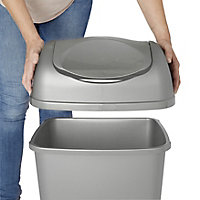 Tazetta Grey Plastic Rectangular Freestanding Kitchen Bin, 40L