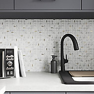 Tenashey White Marble effect Natural stone & stainless steel Mosaic tile sheet, (L)300mm (W)300mm