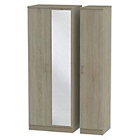 Tenby Contemporary Mirrored door Dark oak effect Tall Triple Wardrobe (H)1970mm (W)1110mm (D)530mm