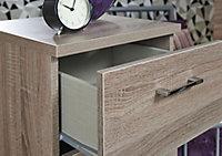 Tenby Dark oak effect 3 Drawer Bedside chest (H)695mm (W)395mm (D)415mm
