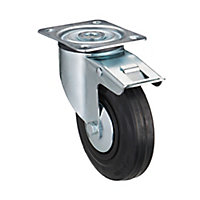 Tente Braked Zinc-plated Swivel Castor, (Dia)125mm (Max. Weight)100kg