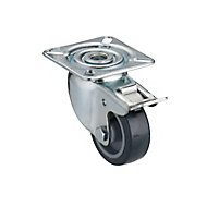 Tente Braked Zinc-plated Swivel Castor, (Dia)50mm (Max. Weight)40kg