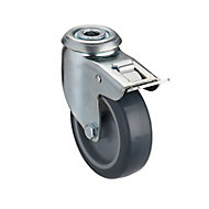 Tente Braked Zinc-plated Swivel Castor, (Dia)75mm (Max. Weight)60kg