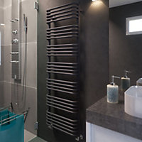 Terma Alex 793W Modern grey Towel warmer (H)1580mm (W)500mm
