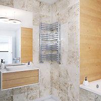 Terma Incorner 546W Chrome effect Towel warmer (H)1005mm (W)350mm