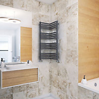 Terma Incorner 546W Modern grey Towel warmer (H)1005mm (W)350mm