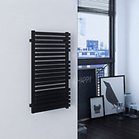 Terma Quadrus 600W Electric Metallic black Towel warmer (H)870mm (W)450mm
