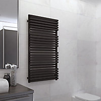 Terma Quadrus 800W Electric Metallic black Towel warmer (H)1185mm (W)450mm