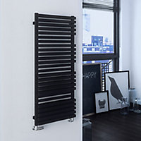 Terma Quadrus 835W Metallic black Towel warmer (H)1185mm (W)450mm