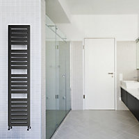 Terma Salisbury 386W Electric Metallic black Towel warmer (H)1360mm (W)300mm