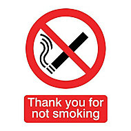 Thank you for not smoking Self-adhesive labels, (H)200mm (W)150mm