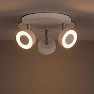 Tharros White Mains-powered 3 lamp Spotlight