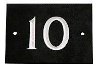The House Nameplate Company Black & white Slate Rectangular House number 10, (H)102mm (W)140mm