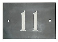 The House Nameplate Company Black & white Slate Rectangular House number 11, (H)102mm (W)140mm