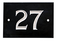 The House Nameplate Company Black & white Slate Rectangular House number 27, (H)102mm (W)140mm