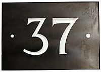 The House Nameplate Company Black & white Slate Rectangular House number 37, (H)102mm (W)140mm
