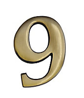 The House Nameplate Company Brass effect Metal Self-adhesive House number 9, (H)60mm (W)40mm
