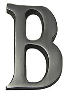 The House Nameplate Company Brushed Silver effect Aluminium Self-adhesive House letter B, (H)40mm (W)25mm