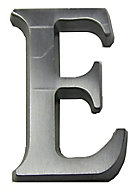 The House Nameplate Company Brushed Silver effect Aluminium Self-adhesive House letter E, (H)40mm (W)25mm