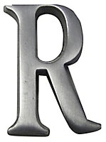 The House Nameplate Company Brushed Silver effect Aluminium Self-adhesive House letter R, (H)40mm (W)25mm