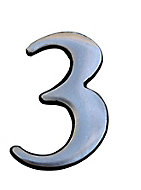 The House Nameplate Company Brushed Silver effect Aluminium Self-adhesive House number 3, (H)50mm (W)25mm