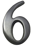 The House Nameplate Company Brushed Silver effect Aluminium Self-adhesive House number 6, (H)40mm (W)25mm