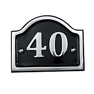 The House Nameplate Company Polished Aluminium House number 34, (H)102mm (W)152mm