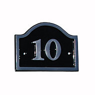 The House Nameplate Company Polished Black Aluminium House number 10, (H)120mm (W)160mm