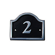 The House Nameplate Company Polished Black Aluminium House number 2, (H)120mm (W)160mm